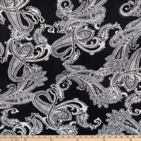 Fabric Merchants Double Brushed Poly Jersey Knit Large Paisley Black/White