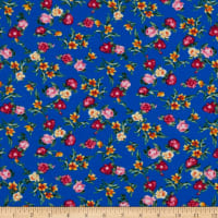 Fabric Merchants Double Brushed Poly Stretch Jersey Knit Mini Floral Garden Royal/Blush