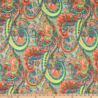 Fabric Merchants Double Brushed Poly Jersey Knit Paisley Ivory/Multi