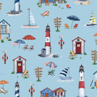 Michael Miller Fabrics By The Sea Cabana Time Blue