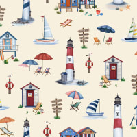 Michael Miller Fabrics By The Sea Cabana Time Cream
