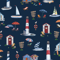 Michael Miller Fabrics By The Sea Cabana Time Navy