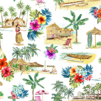 Michael Miller Fabrics Lost In Paradise Beach Vibes Only Multi