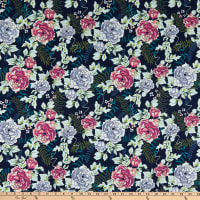Art Gallery Trouvaille Everblooming Camellias Dim Blue/Pink