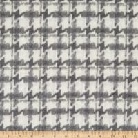 Telio Houndstooth Brushed Tweed Wool Blend Grey/Ivory