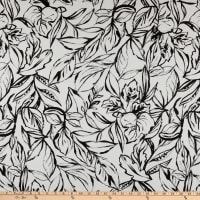Telio Baltic Cotton Stretch Sateen Floral Print White/Black