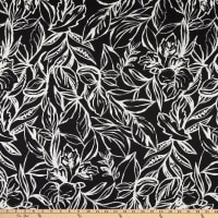 Telio Baltic Cotton Stretch Sateen Floral Print Black/White