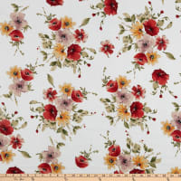 Fabric Merchants Liverpool Double Stretch Knit Floral Ivory/Coral