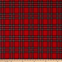 Fabric Merchants Liverpool Double Stretch Knit Plaid Red