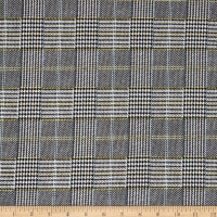 Fabric Merchants Liverpool Double Knit Houndstooth Plaid Black/Blue/Yellow