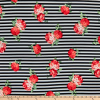 Fabric Merchants Liverpool Double Stretch Knit Horizontal Stripe Roses Black/Red