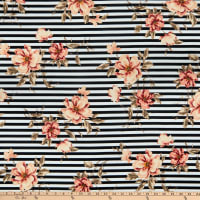 Fabric Merchants Liverpool Double Stretch Knit Horizontal Stripe Floral Black/Taupe
