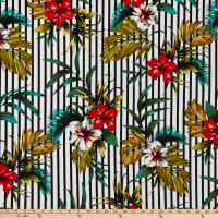 Fabric Merchants Liverpool Double Stretch Knit Stripe Tropical Floral Black/Red/Green