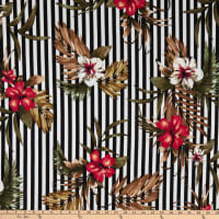 Fabric Merchants Liverpool Double Knit Stripe Tropical Floral Black/Red