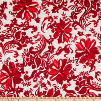 Fabric Merchants ITY Jersey Knit Damask Floral Ivory/Red