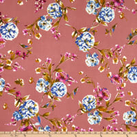 Fabric Merchants ITY Jersey Knit Floral Garden Mauve/Blue