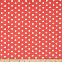 Fabric Merchants ITY Stretch Jersey Knit Small Polka Dot Coral/White