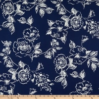 Fabric Merchants ITY Stretch Jersey Knit Roses Navy/White