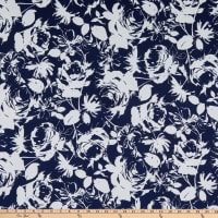 Fabric Merchants ITY Stretch Jersey Knit Floral Navy/White