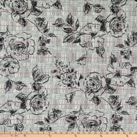 Fabric Merchants ITY Stretch Jersey Knit Plaid Roses Black/Red
