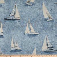 ArtCo Sailing Boat Painting Jacquard Blue