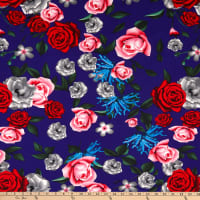 Fabric Merchants Techno Scuba Stretch Floral Navy/Pink