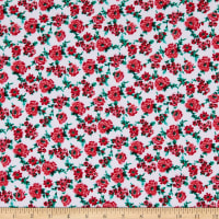 Fabric Merchants Bubble Crepe Floral White/Red