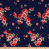 Fabric Merchants Bubble Crepe Floral Navy/Red