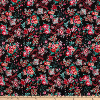 Fabric Merchants Bubble Crepe Floral Black/Red