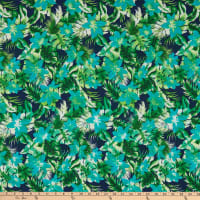Fabric Merchants Bubble Crepe Hawaiian Floral Navy/Green