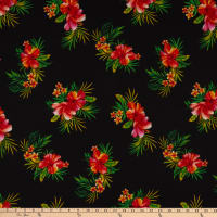 Fabric Merchants Bubble Crepe Hawaiian Floral Black/Coral