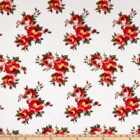 Fabric Merchants Bubble Crepe Floral Ivory/Orange