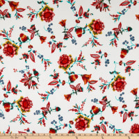 Fabric Merchants Bubble Crepe Floral Ivory/Red