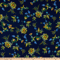 Fabric Merchants Bubble Crepe Floral Navy/Yellow