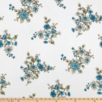 Fabric Merchants Bubble Crepe Floral Ivory/Teal