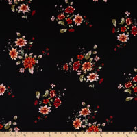 Fabric Merchants Bubble Crepe Floral Black/Rust