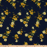 Fabric Merchants Bubble Crepe Roses Navy/Yellow
