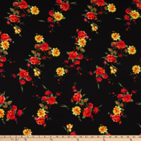 Fabric Merchants Bubble Crepe Roses Black/Coral
