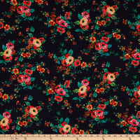 Fabric Merchants Bubble Crepe Floral Navy/Coral