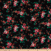 Fabric Merchants Bubble Crepe Floral Black/Pink