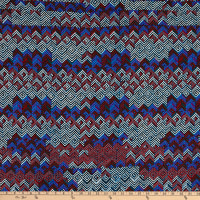 Fabric Merchants Deadstock Rayon Challis Geo Chevron Multi