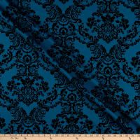 Fabric Merchants Deadstock Suiting Baroque Flocked Damask Teal