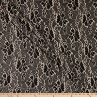 Fabric Merchants Deadstock Lace Knit Floral Black/Taupe