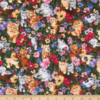 Purr-Fect! Digital Kittens in Flowers Multi