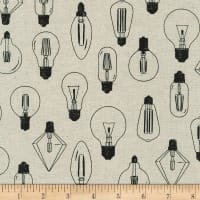 Kaufman Sevenberry Cotton Flax Prints Lightbulbs Natural