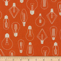 Kaufman Sevenberry Cotton Flax Prints Lightbulbs Orange