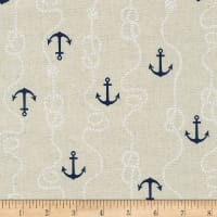 Kaufman Sevenberry Cotton Flax Prints Anchors Natural