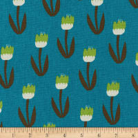 Kaufman Sevenberry Cotton Flax Prints Tulips Teal