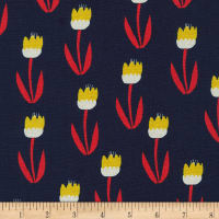 Kaufman Sevenberry Cotton Flax Prints Tulips Navy