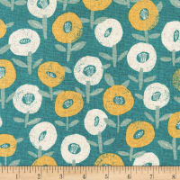Kaufman Sevenberry Cotton Flax Prints Flowers Slate